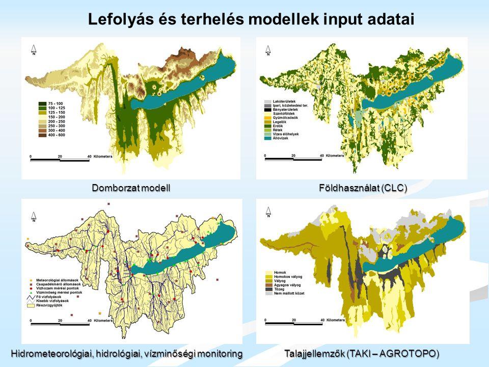 Lefolyás és terhelés modellek input adatai Hidrometeorológiai, hidrológiai, vízminőségi monitoring Talajjellemzők (TAKI – AGROTOPO) Domborzat modell F