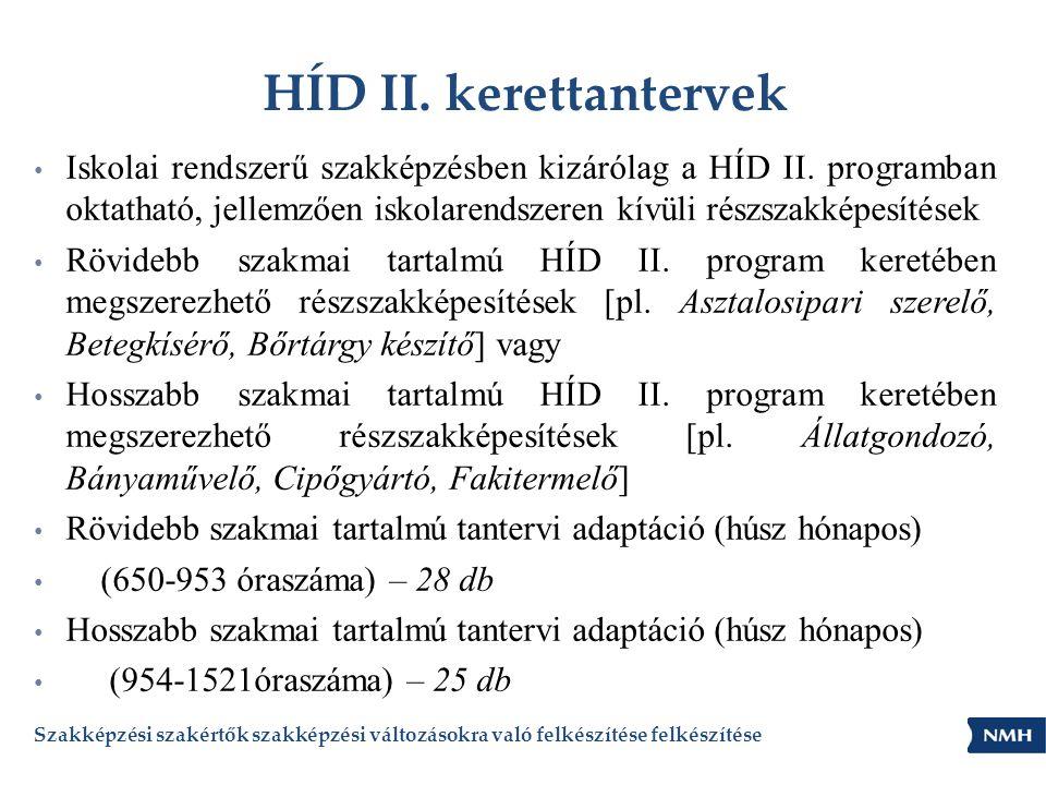HÍD II. kerettantervek • Iskolai rendszerű szakképzésben kizárólag a HÍD II. programban oktatható, jellemzően iskolarendszeren kívüli részszakképesíté