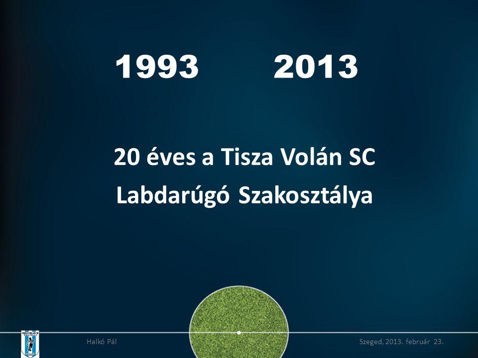 1993 2013 20 éves a Tisza Volán SC Labdarúgó Szakosztálya Halkó Pál Szeged, 2013. február 23.