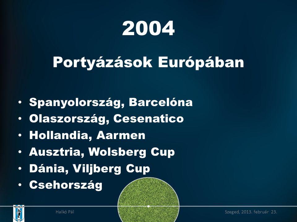 2004 Portyázások Európában • Spanyolország, Barcelóna • Olaszország, Cesenatico • Hollandia, Aarmen • Ausztria, Wolsberg Cup • Dánia, Viljberg Cup • Csehország Halkó Pál Szeged, 2013.