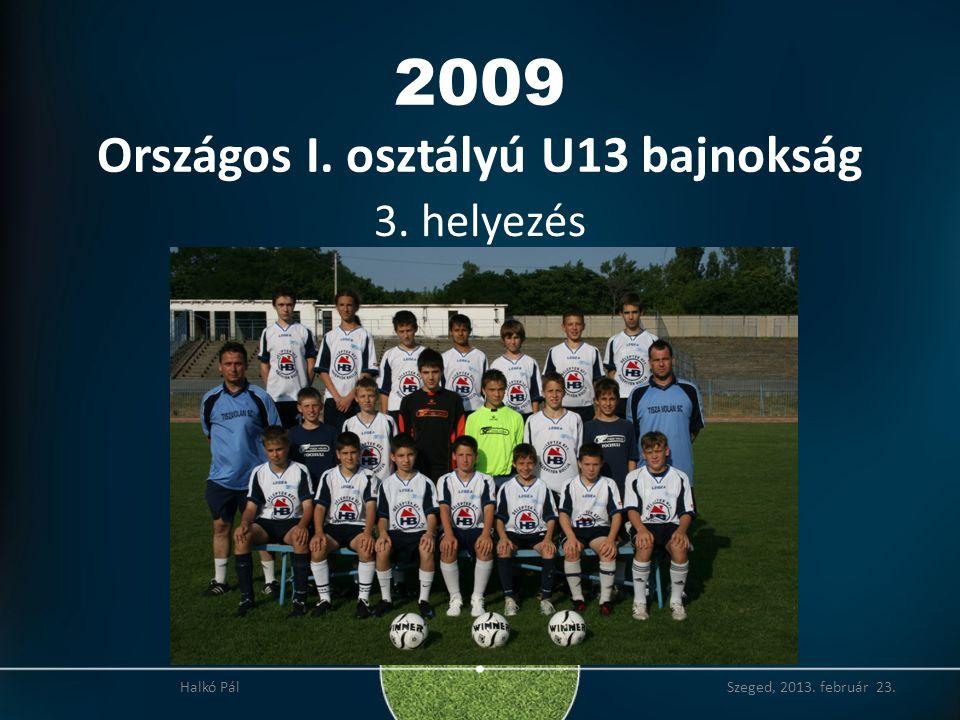2009 Országos I. osztályú U13 bajnokság 3. helyezés Halkó Pál Szeged, 2013. február 23.
