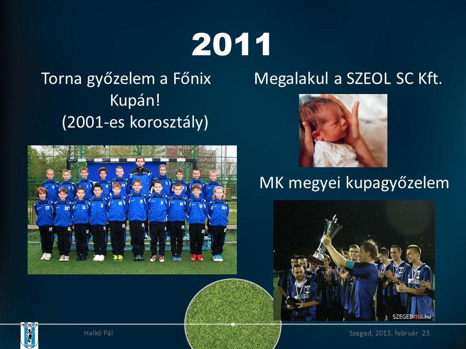 2011 Torna győzelem a Főnix Kupán.(2001-es korosztály) Megalakul a SZEOL SC Kft.