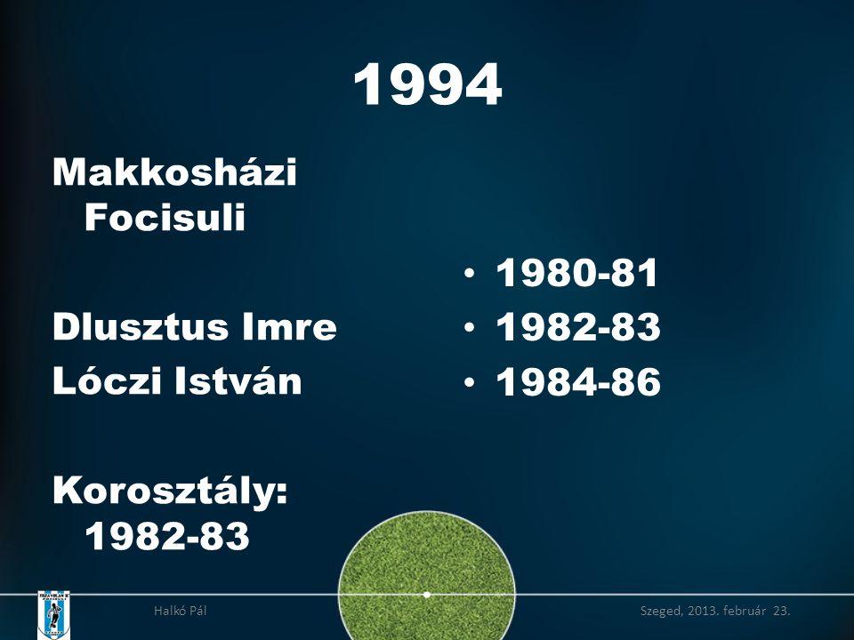 1994 Makkosházi Focisuli Dlusztus Imre Lóczi István Korosztály: 1982-83 • 1980-81 • 1982-83 • 1984-86 Halkó Pál Szeged, 2013.