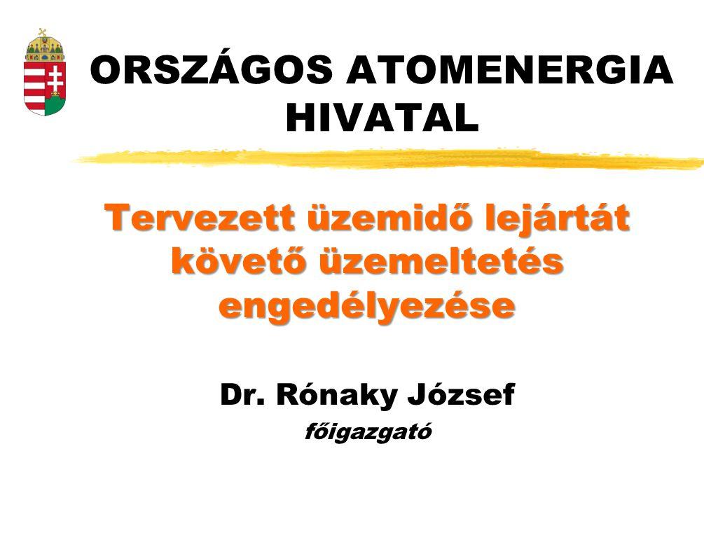 ORSZÁGOS ATOMENERGIA HIVATAL Tervezett üzemidő lejártát követő üzemeltetés engedélyezése Dr. Rónaky József főigazgató