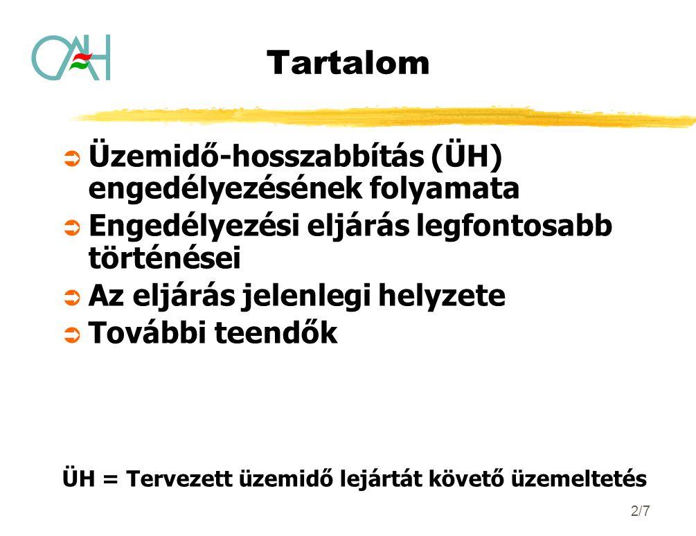 2/7 Tartalom  Üzemidő-hosszabbítás (ÜH) engedélyezésének folyamata  Engedélyezési eljárás legfontosabb történései  Az eljárás jelenlegi helyzete 
