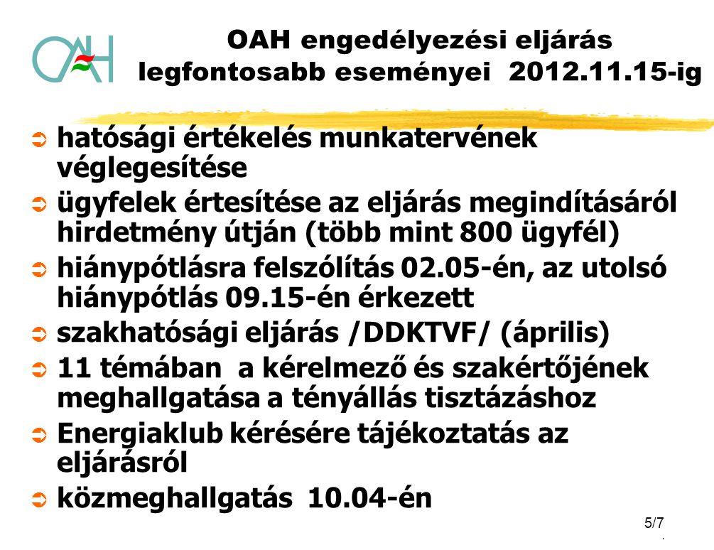 5/5. OAH engedélyezési eljárás legfontosabb eseményei 2012.11.15-ig  hatósági értékelés munkatervének véglegesítése  ügyfelek értesítése az eljárás