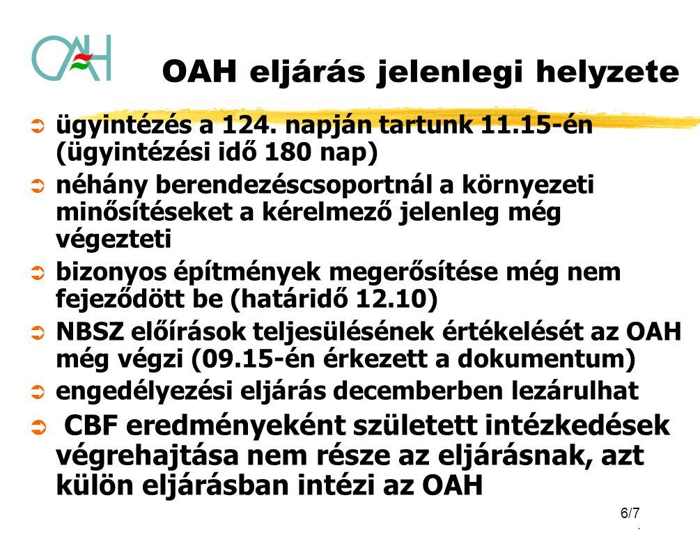 6/7. OAH eljárás jelenlegi helyzete  ügyintézés a 124. napján tartunk 11.15-én (ügyintézési idő 180 nap)  néhány berendezéscsoportnál a környezeti m
