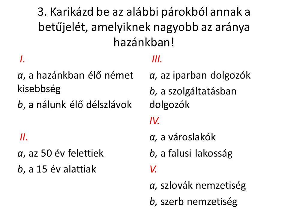 3. Karikázd be az alábbi párokból annak a betűjelét, amelyiknek nagyobb az aránya hazánkban! I. a, a hazánkban élő német kisebbség b, a nálunk élő dél