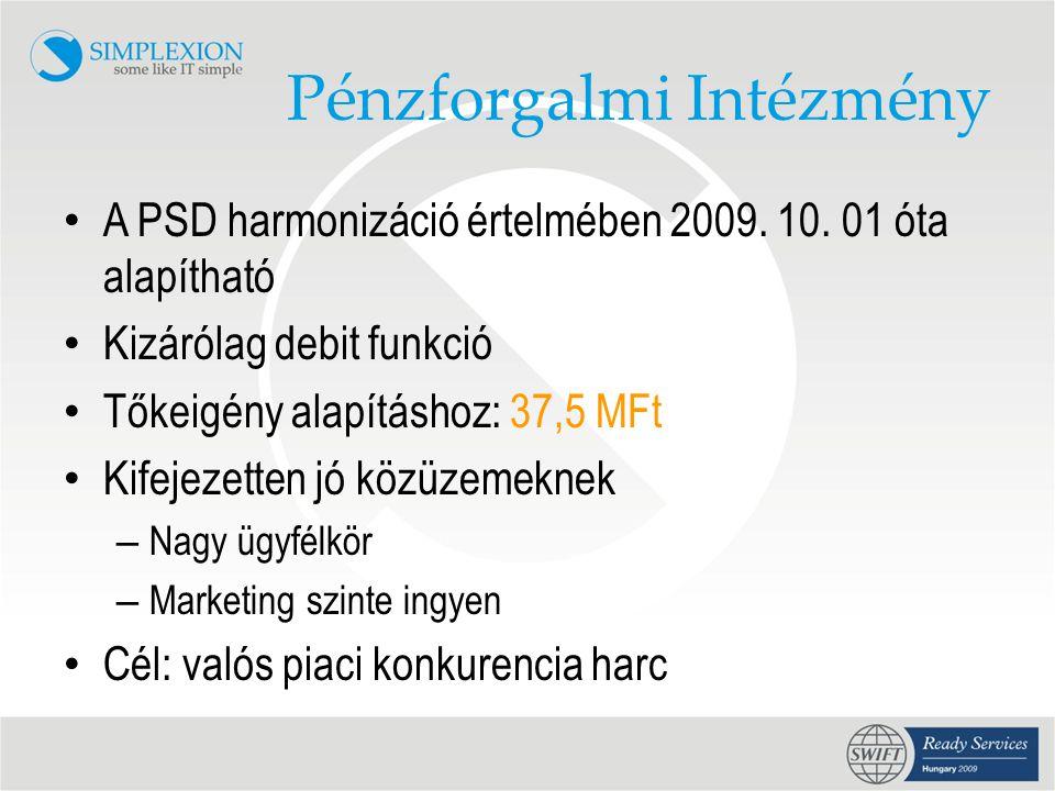 Pénzforgalmi Intézmény • A PSD harmonizáció értelmében 2009.