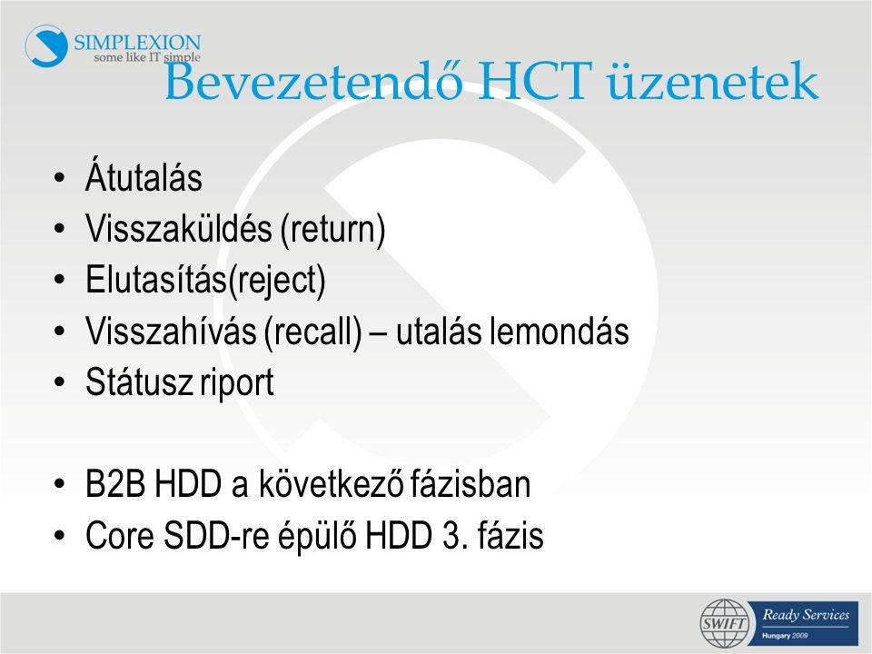Bevezetendő HCT üzenetek • Átutalás • Visszaküldés (return) • Elutasítás(reject) • Visszahívás (recall) – utalás lemondás • Státusz riport • B2B HDD a következő fázisban • Core SDD-re épülő HDD 3.