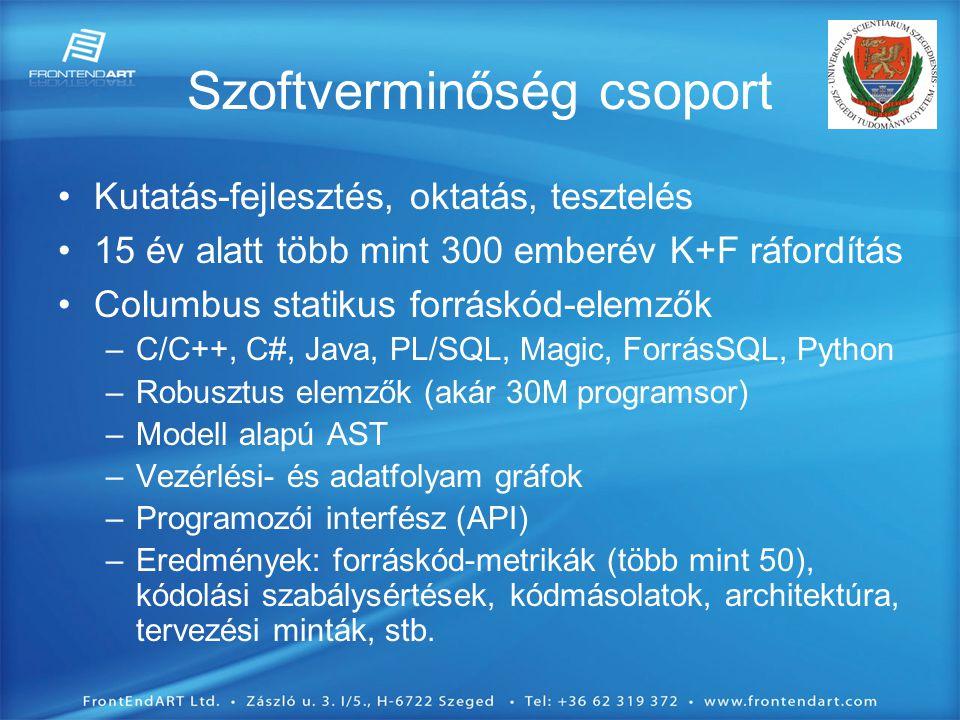 Szoftverminőség csoport •Kutatás-fejlesztés, oktatás, tesztelés •15 év alatt több mint 300 emberév K+F ráfordítás •Columbus statikus forráskód-elemzők –C/C++, C#, Java, PL/SQL, Magic, ForrásSQL, Python –Robusztus elemzők (akár 30M programsor) –Modell alapú AST –Vezérlési- és adatfolyam gráfok –Programozói interfész (API) –Eredmények: forráskód-metrikák (több mint 50), kódolási szabálysértések, kódmásolatok, architektúra, tervezési minták, stb.