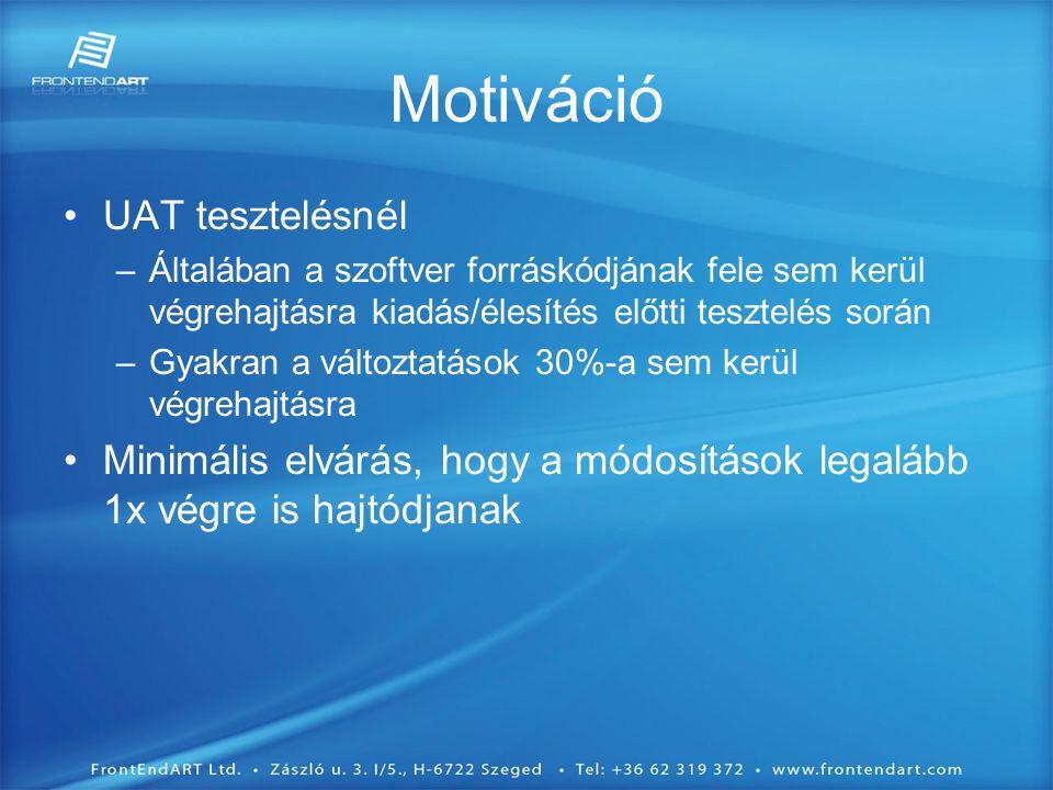•UAT tesztelésnél –Általában a szoftver forráskódjának fele sem kerül végrehajtásra kiadás/élesítés előtti tesztelés során –Gyakran a változtatások 30%-a sem kerül végrehajtásra •Minimális elvárás, hogy a módosítások legalább 1x végre is hajtódjanak