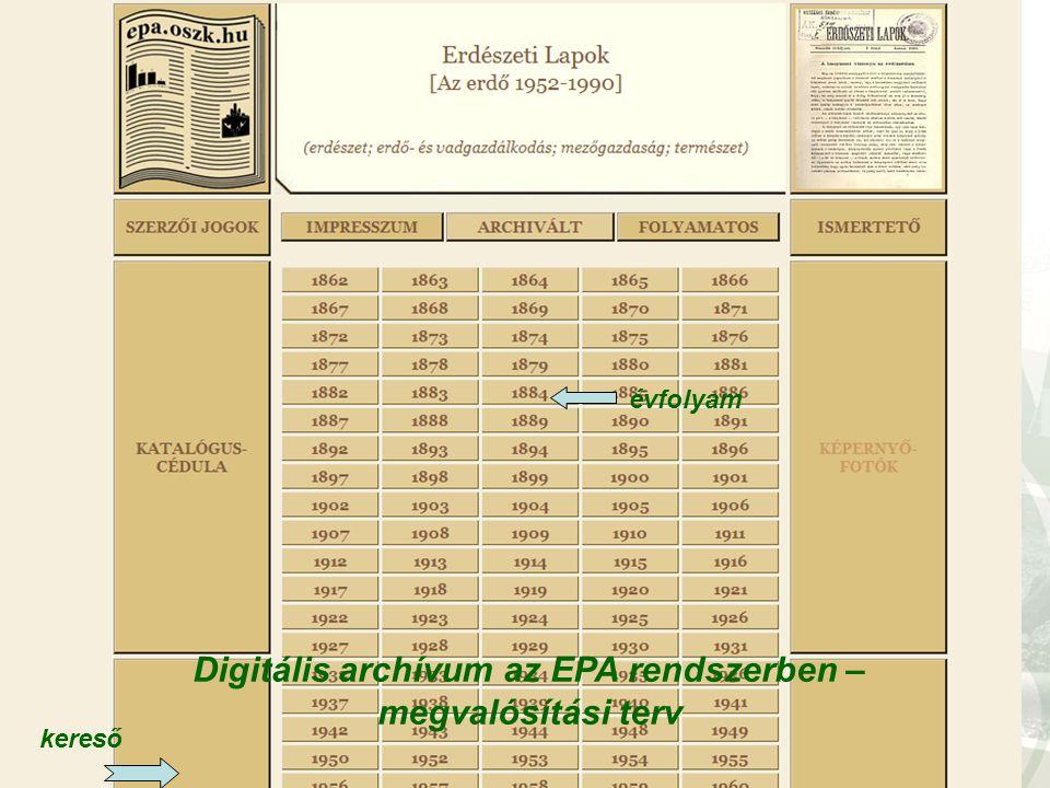 Digitális archívum az EPA rendszerben – megvalósítási terv évfolyam kereső