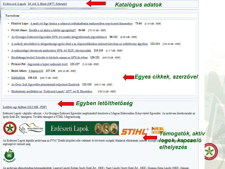 Katalógus adatok Egyes cikkek, szerzővel Egyben letölthetőség Támogatók, aktív logok, kapcsoló elhelyezés