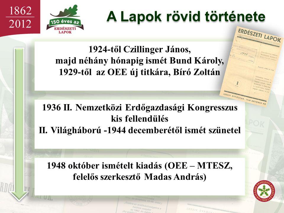 A Lapok rövid története 1924-től Czillinger János, majd néhány hónapig ismét Bund Károly, 1929-től az OEE új titkára, Bíró Zoltán 1924-től Czillinger
