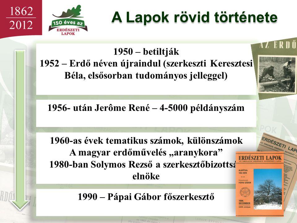A Lapok rövid története 1950 – betiltják 1952 – Erdő néven újraindul (szerkeszti Keresztesi Béla, elsősorban tudományos jelleggel) 1950 – betiltják 19