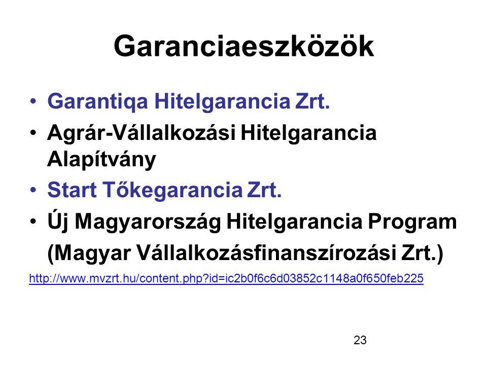 23 Garanciaeszközök •Garantiqa Hitelgarancia Zrt. •Agrár-Vállalkozási Hitelgarancia Alapítvány •Start Tőkegarancia Zrt. •Új Magyarország Hitelgarancia