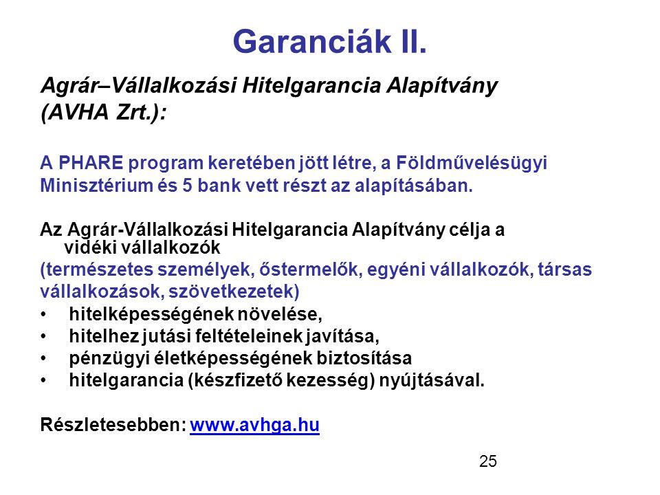 25 Garanciák II. Agrár–Vállalkozási Hitelgarancia Alapítvány (AVHA Zrt.): A PHARE program keretében jött létre, a Földművelésügyi Minisztérium és 5 ba