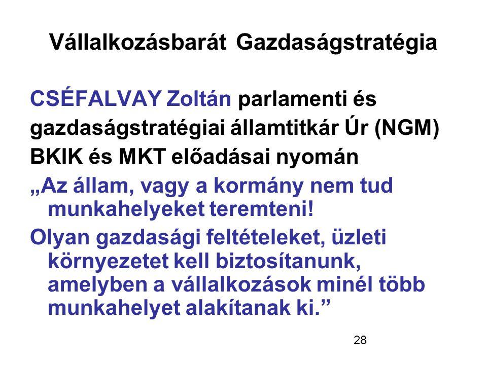 """28 Vállalkozásbarát Gazdaságstratégia CSÉFALVAY Zoltán parlamenti és gazdaságstratégiai államtitkár Úr (NGM) BKIK és MKT előadásai nyomán """"Az állam,"""