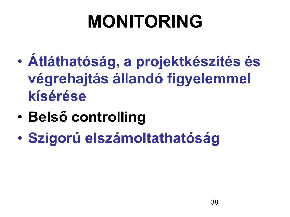 38 MONITORING •Átláthatóság, a projektkészítés és végrehajtás állandó figyelemmel kísérése •Belső controlling •Szigorú elszámoltathatóság