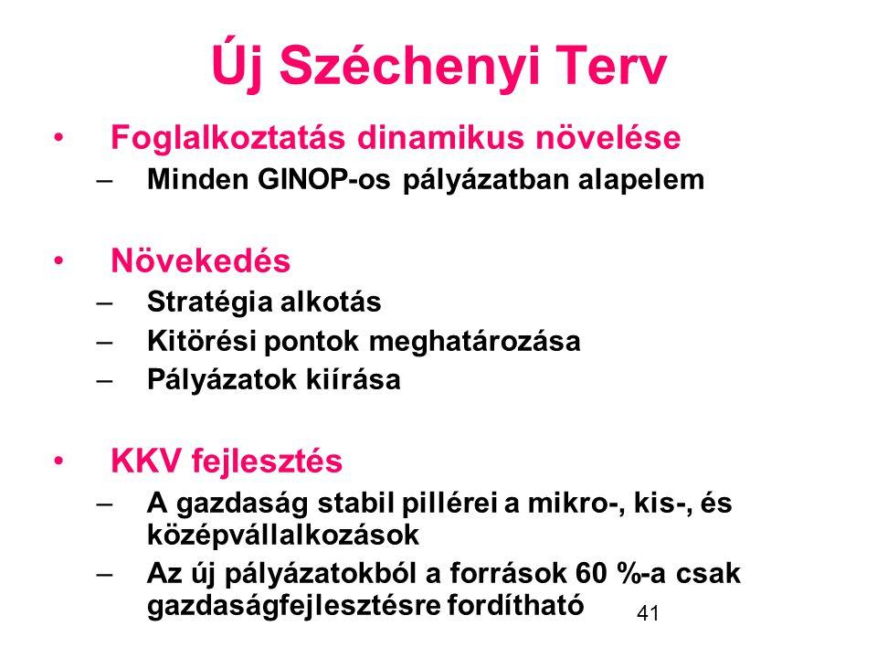41 Új Széchenyi Terv •Foglalkoztatás dinamikus növelése –Minden GINOP-os pályázatban alapelem •Növekedés –Stratégia alkotás –Kitörési pontok meghatáro