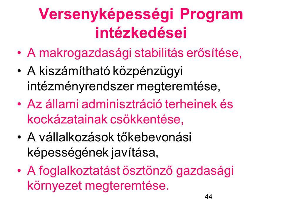 44 Versenyképességi Program intézkedései •A makrogazdasági stabilitás erősítése, •A kiszámítható közpénzügyi intézményrendszer megteremtése, •Az állam