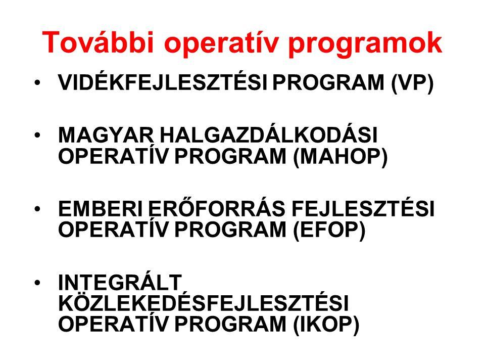 További operatív programok •VIDÉKFEJLESZTÉSI PROGRAM (VP) •MAGYAR HALGAZDÁLKODÁSI OPERATÍV PROGRAM (MAHOP) •EMBERI ERŐFORRÁS FEJLESZTÉSI OPERATÍV PROG
