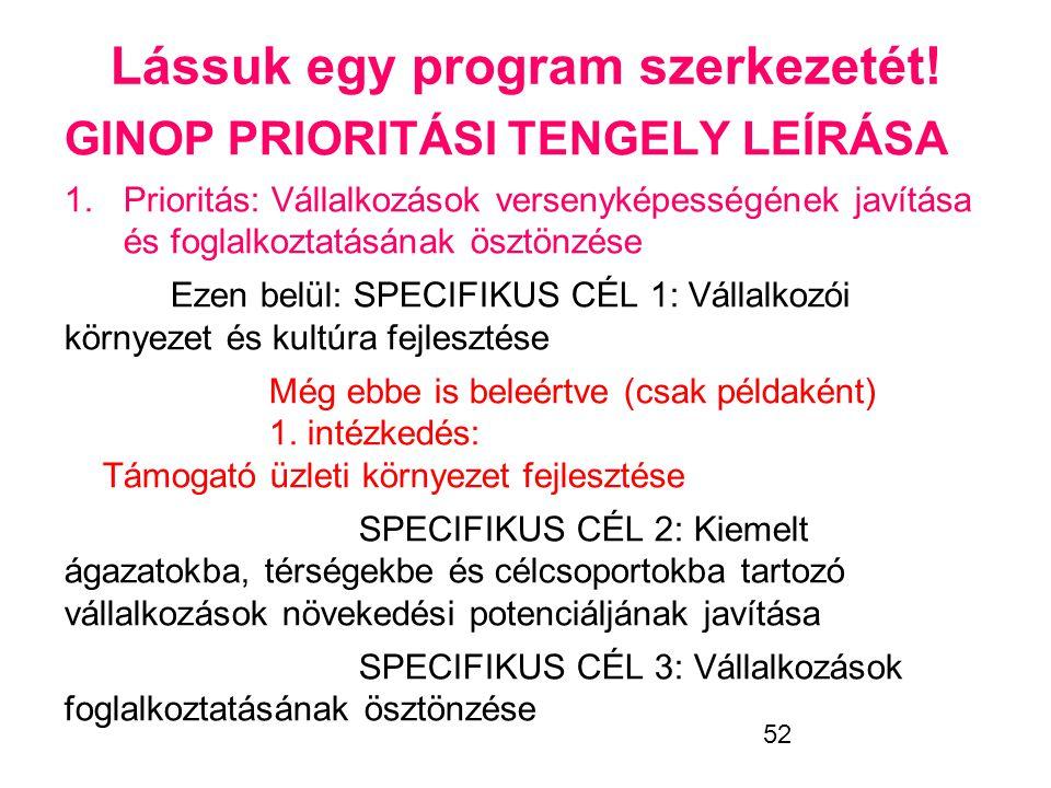 52 Lássuk egy program szerkezetét! GINOP PRIORITÁSI TENGELY LEÍRÁSA 1.Prioritás: Vállalkozások versenyképességének javítása és foglalkoztatásának öszt