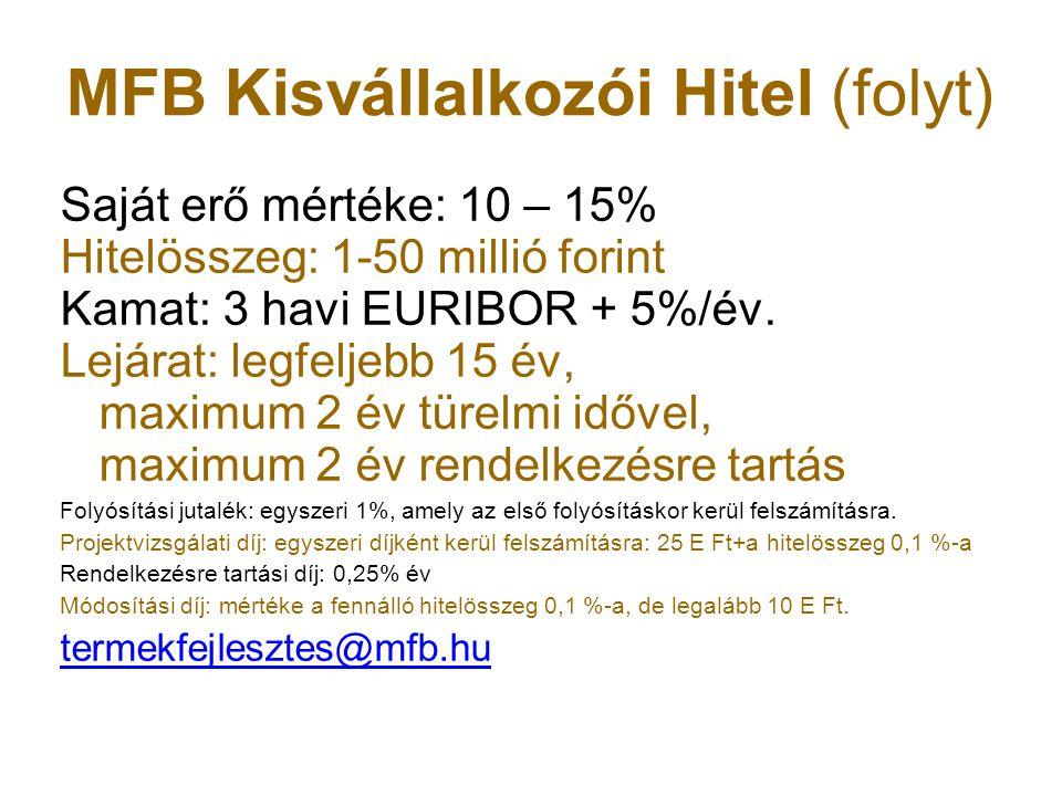 MFB Kisvállalkozói Hitel (folyt) Saját erő mértéke: 10 – 15% Hitelösszeg: 1-50 millió forint Kamat: 3 havi EURIBOR + 5%/év. Lejárat: legfeljebb 15 év,