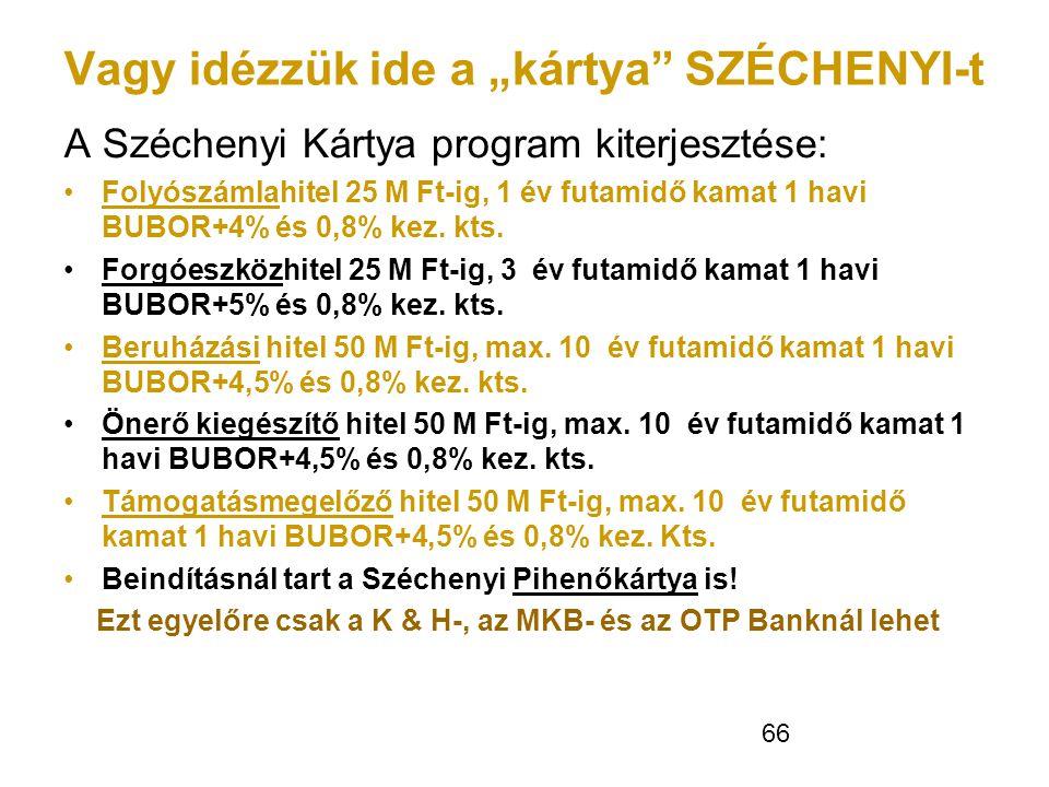 """66 Vagy idézzük ide a """"kártya"""" SZÉCHENYI-t A Széchenyi Kártya program kiterjesztése: •Folyószámlahitel 25 M Ft-ig, 1 év futamidő kamat 1 havi BUBOR+4%"""