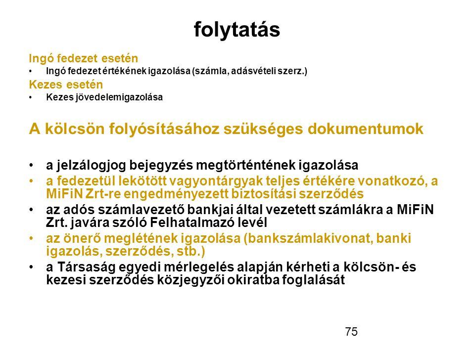 75 folytatás Ingó fedezet esetén •Ingó fedezet értékének igazolása (számla, adásvételi szerz.) Kezes esetén •Kezes jövedelemigazolása A kölcsön folyó