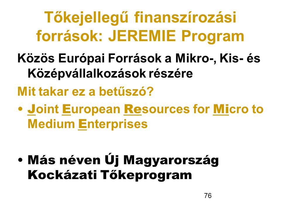 76 Tőkejellegű finanszírozási források: JEREMIE Program Közös Európai Források a Mikro-, Kis- és Középvállalkozások részére Mit takar ez a betűszó? •J