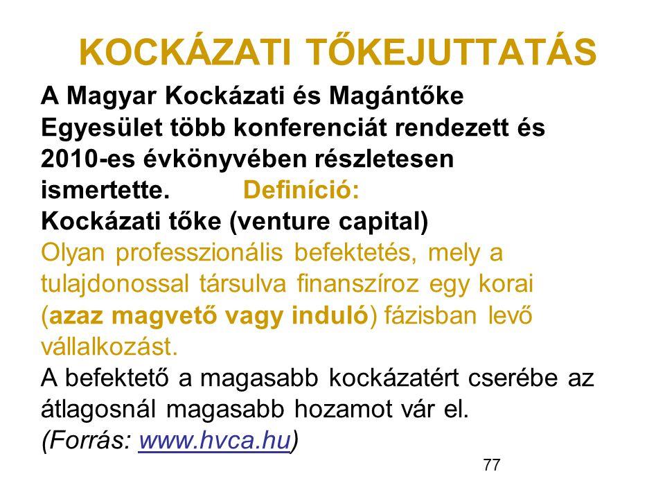 77 KOCKÁZATI TŐKEJUTTATÁS A Magyar Kockázati és Magántőke Egyesület több konferenciát rendezett és 2010-es évkönyvében részletesen ismertette. Definíc