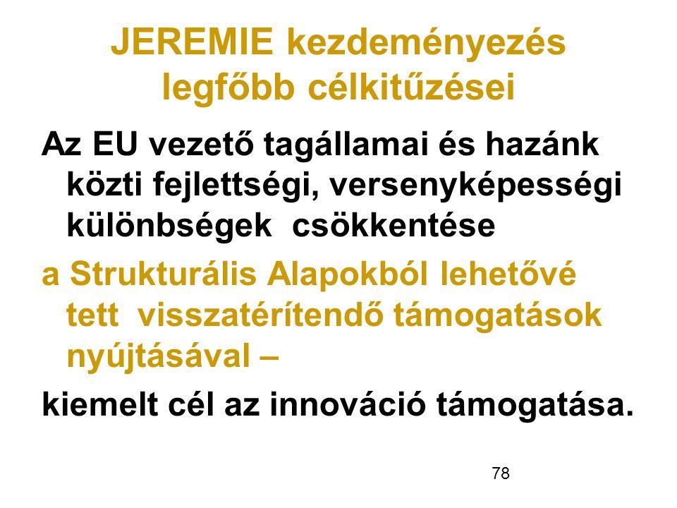 78 JEREMIE kezdeményezés legfőbb célkitűzései Az EU vezető tagállamai és hazánk közti fejlettségi, versenyképességi különbségek csökkentése a Struktur
