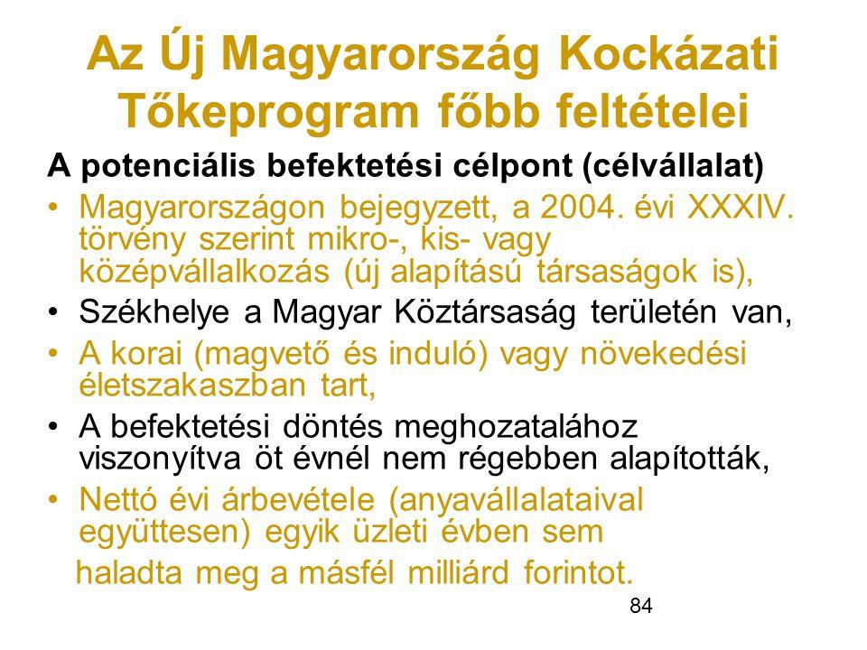 84 Az Új Magyarország Kockázati Tőkeprogram főbb feltételei A potenciális befektetési célpont (célvállalat) •Magyarországon bejegyzett, a 2004. évi X