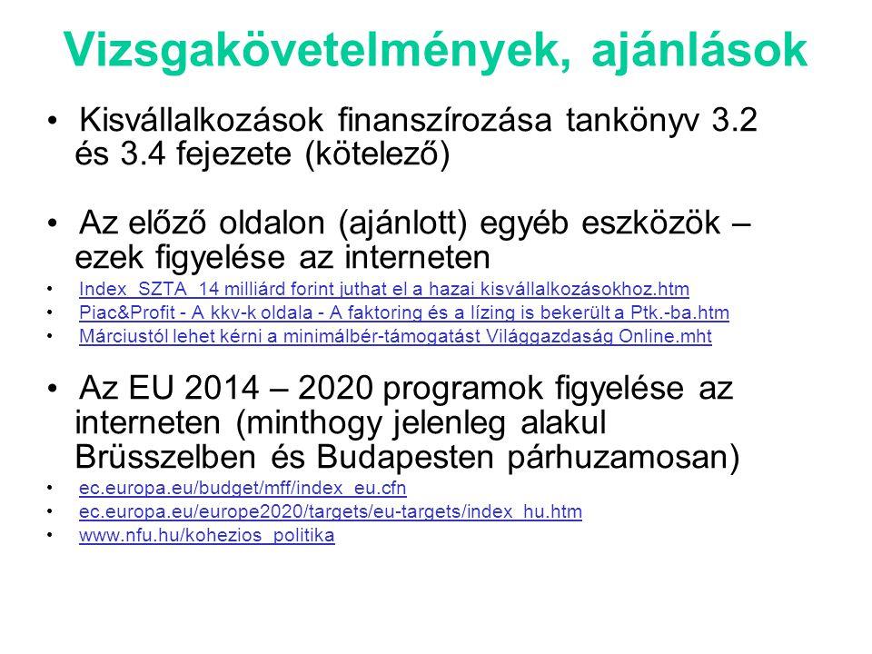 Vizsgakövetelmények, ajánlások • Kisvállalkozások finanszírozása tankönyv 3.2 és 3.4 fejezete (kötelező) • Az előző oldalon (ajánlott) egyéb eszközök