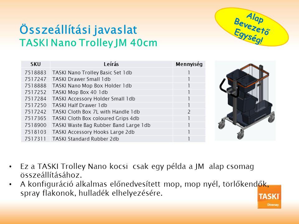 Összeállítási javaslat TASKI Nano Trolley JM 40cm SKULeírásMennyiség 7518883TASKI Nano Trolley Basic Set 1db1 7517247TASKI Drawer Small 1db1 7518888TASKI Nano Mop Box Holder 1db1 7517252TASKI Mop Box 40 1db1 7517284TASKI Accessory Holder Small 1db1 7517250TASKI Half Drawer 1db1 7517242TASKI Cloth Box 7L with Handle 1db2 7517365TASKI Cloth Box coloured Grips 4db1 7518900TASKI Waste Bag Rubber Band Large 1db1 7518103TASKI Accessory Hooks Large 2db1 7517311TASKI Standard Rubber 2db1 • Ez a TASKI Trolley Nano kocsi csak egy példa a JM alap csomag összeállításához.