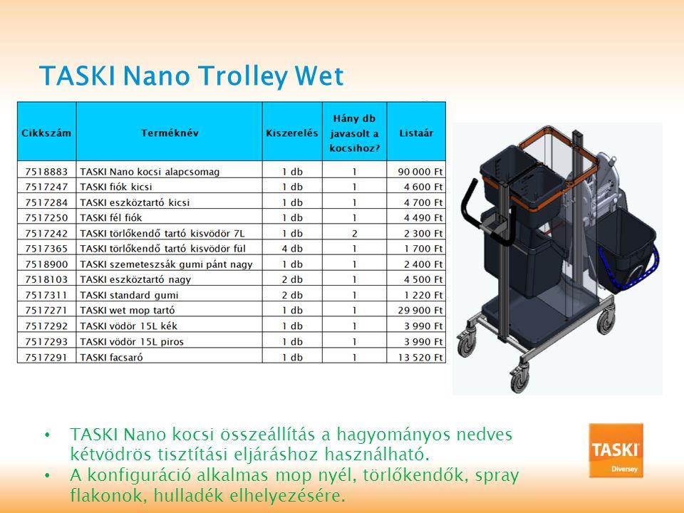 TASKI Nano Trolley Wet • TASKI Nano kocsi összeállítás a hagyományos nedves kétvödrös tisztítási eljáráshoz használható.