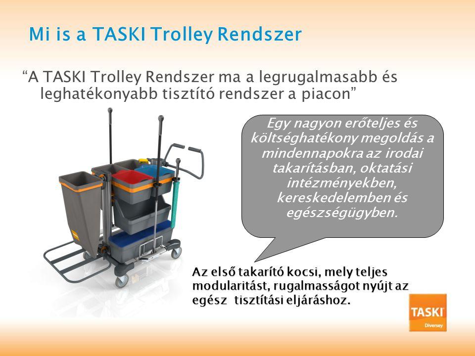 Mi is a TASKI Trolley Rendszer A TASKI Trolley Rendszer ma a legrugalmasabb és leghatékonyabb tisztító rendszer a piacon Egy nagyon erőteljes és költséghatékony megoldás a mindennapokra az irodai takarításban, oktatási intézményekben, kereskedelemben és egészségügyben.