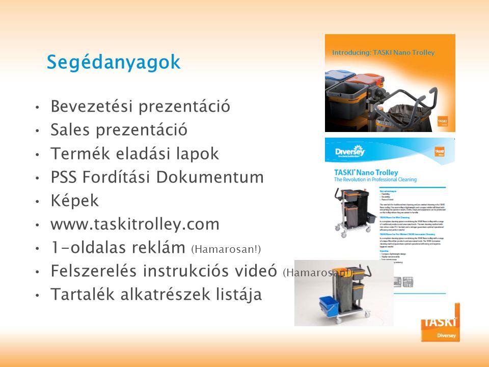 Segédanyagok •Bevezetési prezentáció •Sales prezentáció •Termék eladási lapok •PSS Fordítási Dokumentum •Képek •www.taskitrolley.com •1-oldalas reklám (Hamarosan!) •Felszerelés instrukciós videó (Hamarosan!) •Tartalék alkatrészek listája