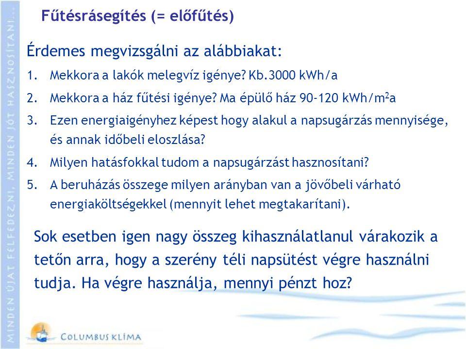 Fűtésrásegítés (= előfűtés) Érdemes megvizsgálni az alábbiakat: 1.Mekkora a lakók melegvíz igénye? Kb.3000 kWh/a 2.Mekkora a ház fűtési igénye? Ma épü