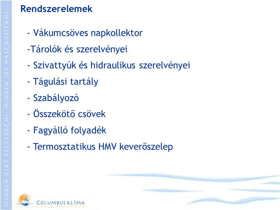 Rendszerelemek - Vákumcsöves napkollektor -Tárolók és szerelvényei - Szivattyúk és hidraulikus szerelvényei - Tágulási tartály - Szabályozó - Összeköt