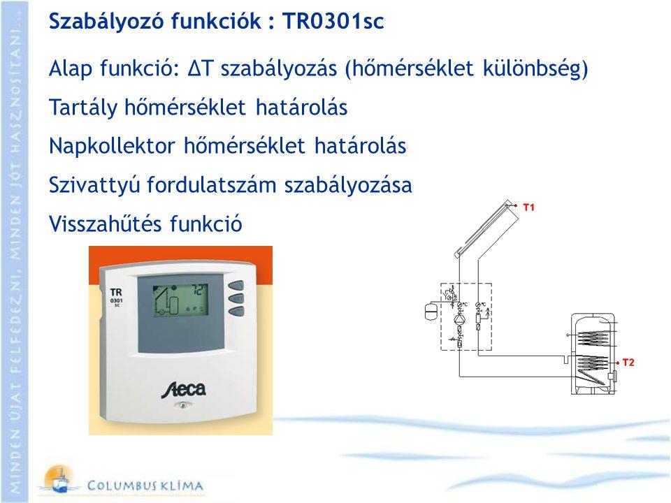 Szabályozó funkciók : TR0301sc Alap funkció: ΔT szabályozás (hőmérséklet különbség) Tartály hőmérséklet határolás Napkollektor hőmérséklet határolás S