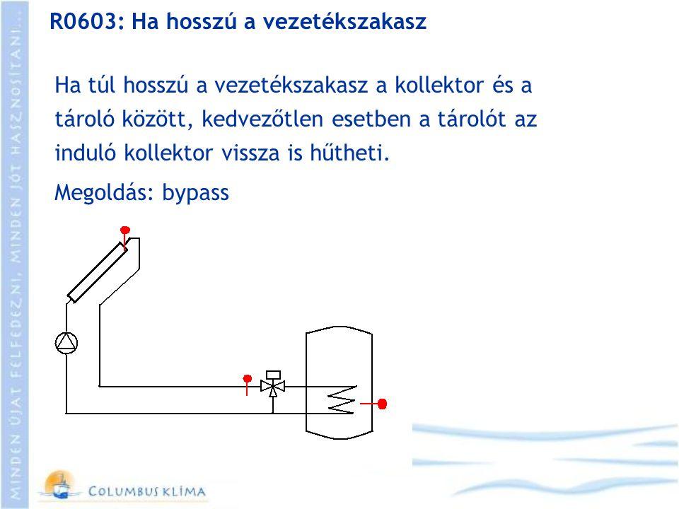 R0603: Ha hosszú a vezetékszakasz Ha túl hosszú a vezetékszakasz a kollektor és a tároló között, kedvezőtlen esetben a tárolót az induló kollektor vis