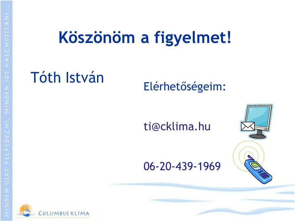 Köszönöm a figyelmet! Elérhetőségeim: ti@cklima.hu 06-20-439-1969 Tóth István