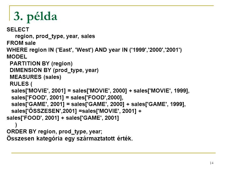14 3. példa SELECT region, prod_type, year, sales FROM sale WHERE region IN ('East', 'West') AND year IN ('1999','2000','2001') MODEL PARTITION BY (re