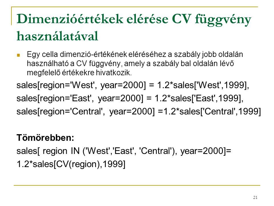 21 Dimenzióértékek elérése CV függvény használatával  Egy cella dimenzió-értékének eléréséhez a szabály jobb oldalán használható a CV függvény, amely
