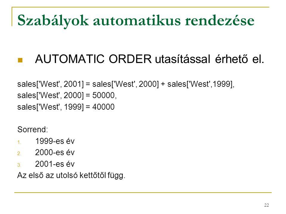 22 Szabályok automatikus rendezése  AUTOMATIC ORDER utasítással érhető el. sales['West', 2001] = sales['West', 2000] + sales['West',1999], sales['Wes