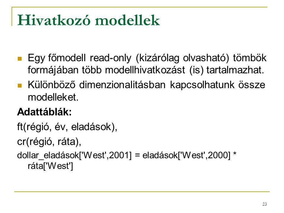 23 Hivatkozó modellek  Egy főmodell read-only (kizárólag olvasható) tömbök formájában több modellhivatkozást (is) tartalmazhat.  Különböző dimenzion