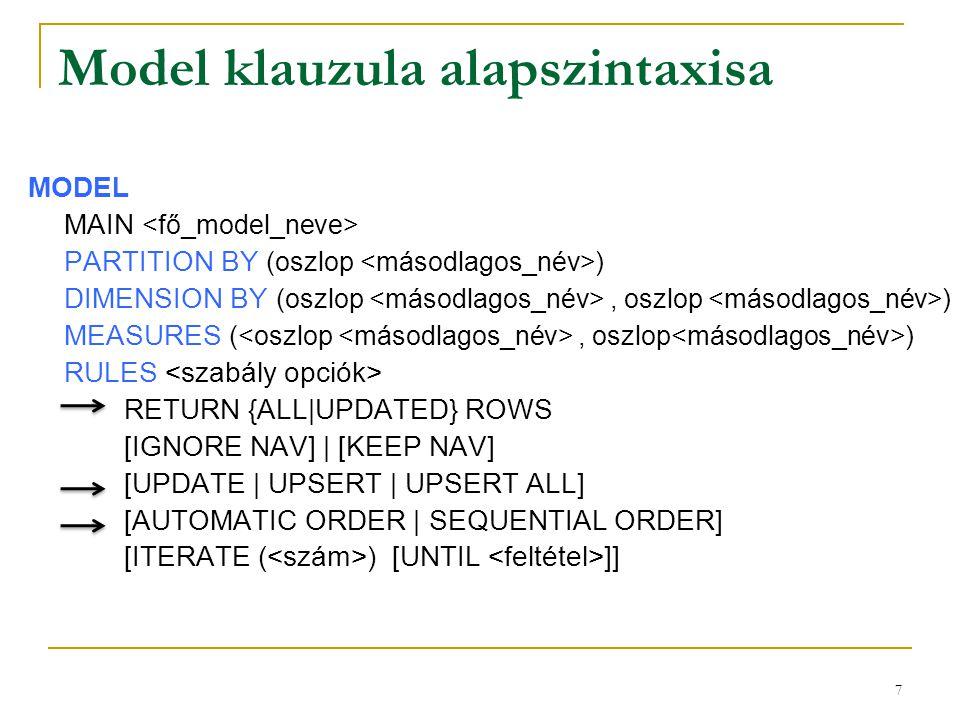 7 Model klauzula alapszintaxisa MODEL MAIN PARTITION BY (oszlop ) DIMENSION BY (oszlop, oszlop ) MEASURES (, oszlop ) RULES RETURN {ALL|UPDATED} ROWS